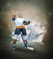 Hockey player portrait on abstract ice background
