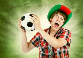 Portuguese fan  shouts on the Brazilian colors background