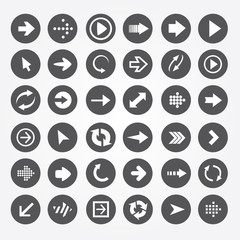 set of vector icons arrow in a black circle
