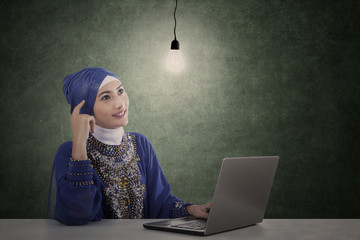 Attractive female muslim with laptop has idea