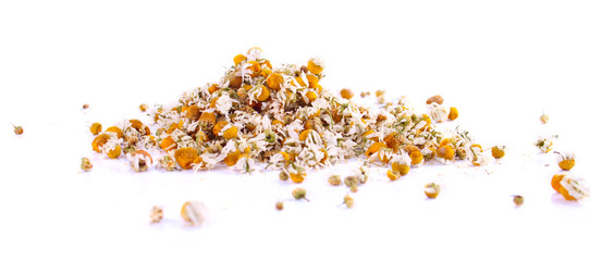Scattered Heap of Chamomile Flower Heads
