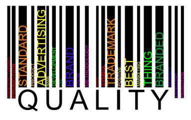 Quality word concept in barcode with supporting words