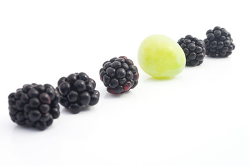 Blackberries and Grape in a Row