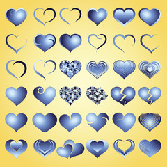 Set of blue symbol heart, vector