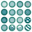 Green planet symbols, vector