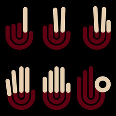hand gestures counting symbols from 1 to 5, vector