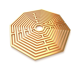 Golden maze isolated
