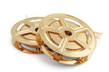 Golden film reels stack