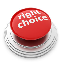 Right choice button isolated