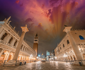 Piazza San Marco at sunset, Venice. St Mark Square lights