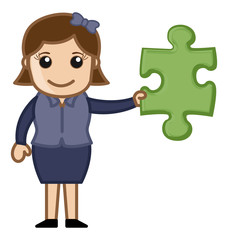Cartoon Lady Holding a Jigsaw Puzzle Piece - Solution Concept