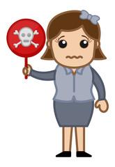 Girl Holding a Danger Sign - Cartoon Character Vector
