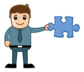 Man Holding Jigsaw Puzzle Piece