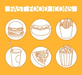orange vector icon set fast food