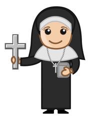 Cartoon Nun Woman Asking for Donation
