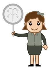 Cartoon Lady Showing Arrow Sign