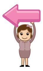 Woman Holding a Left Side Arrow - Cartoon Vector