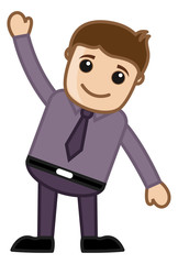 Happy Cartoon Man Raising His Hand