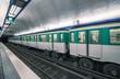 Metro train in Paris. Underground parisian scene - France