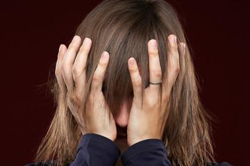 Portrait of  sick man having a migraine