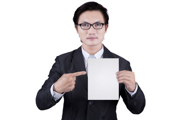 Businessman showing empty placard 2