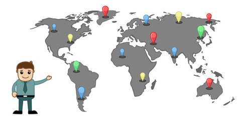 Cartoon Man Showing Position and Places in Worldmap