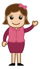 Cute Simple Cartoon Girl Vector
