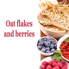 Oat flakes cereal at right side