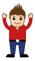 Cartoon Cool Man in Red Shirt - Vector