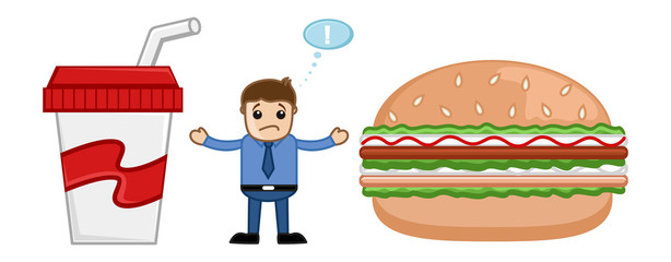 Junk Food - Cartoon Man Standing in Between Burger and Drink