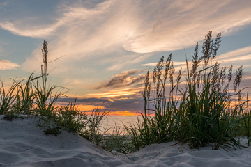 Sunset at the beach of Darß at the Baltic Sea, Mecklenburg-West