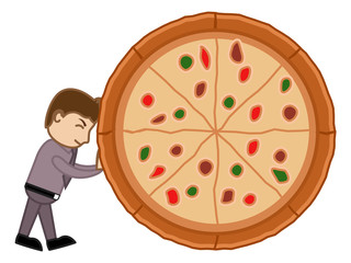 Cartoon Vector Man Dragging a Pizza - No to Junk Food Concept