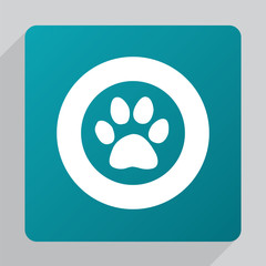 flat cat footprint icon.