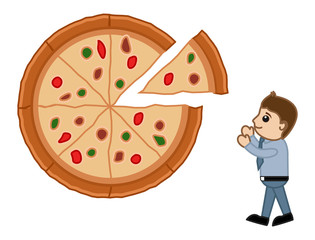Looking for Pizza - Cartoon Vector