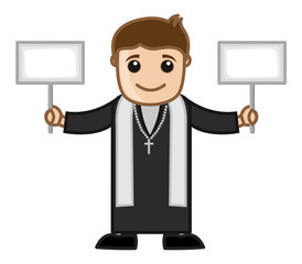 Priest Holding Two Banners Vector
