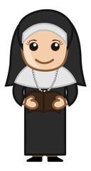 Nun Reading Bible - Cartoon Vector