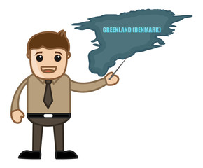 Man Showing Greenland Map Vector