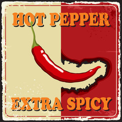Vintage extra spicy poster chili pepper. Vector