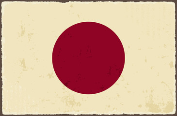 Japanese grunge flag. Vector illustration