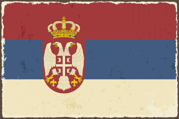 Serbian grunge flag. Vector illustration
