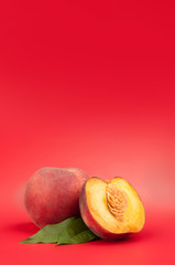 peaches on red