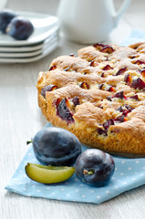 Homemade german baked cake with plums