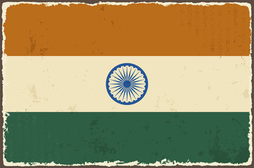 Indian grunge flag. Vector illustration