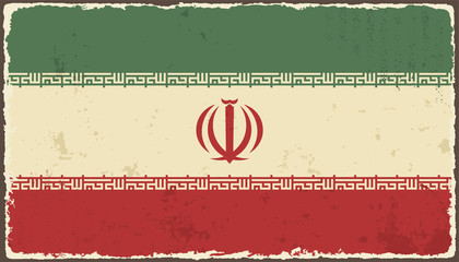 Iranian grunge flag. Vector illustration