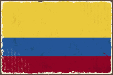 Colombian grunge flag. Vector illustration