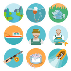 Set of fishing flat icons