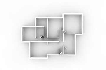 floorplan for a typical house or office building from above