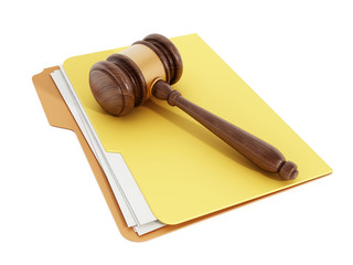 Gavel on folder