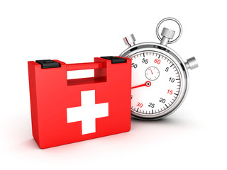 First aid kit with stopwatch on white background