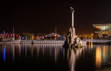 Monument to the Scuttled Ships at night